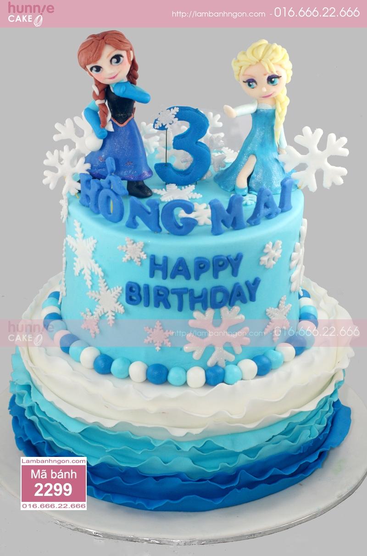 Bánh sinh nhật Fondant Elsa và Anna