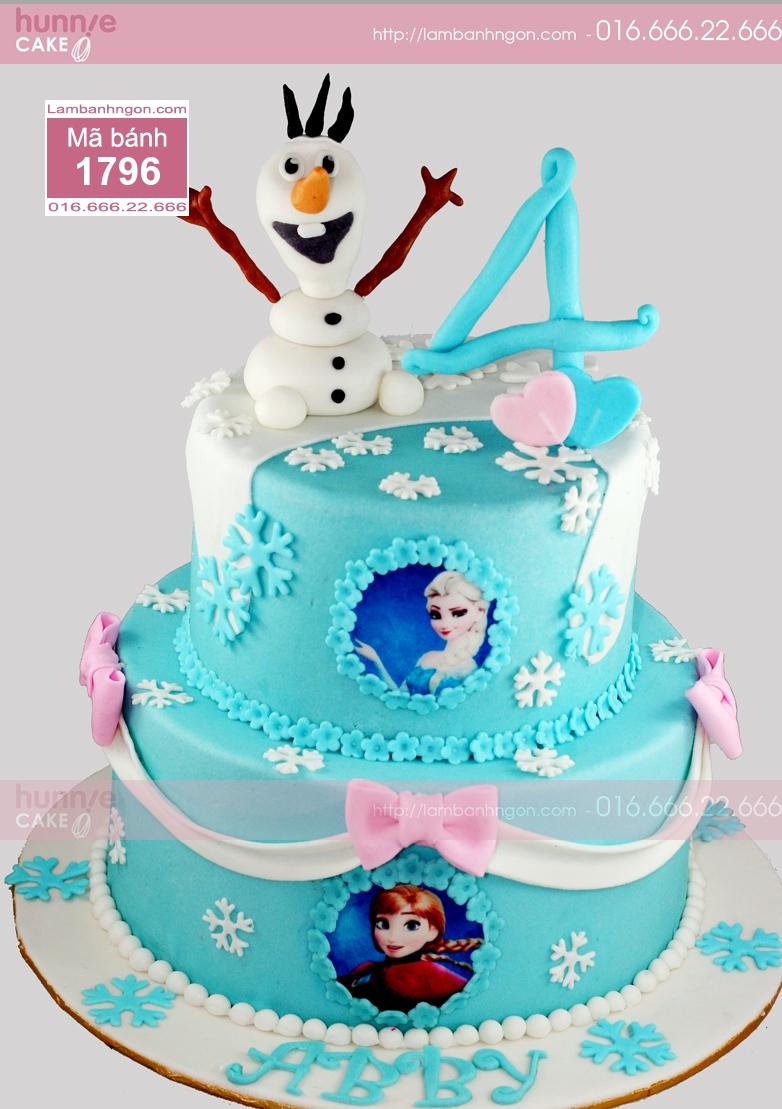 Bánh sinh nhật fondant 2 tầng Elsa, Anna, Olaf