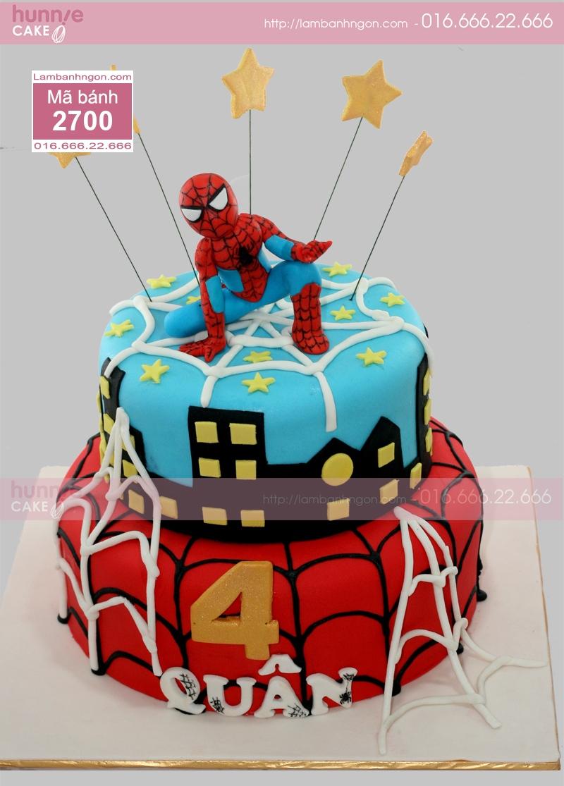 Bánh sinh nhật 2 tầng \u2013 Mẫu bánh sinh nhật đẹp hai tầng, chủ đề thành phố về đem và hình ảnh người nhện đang bảo vệ cho hòa bình của thành phố, ...