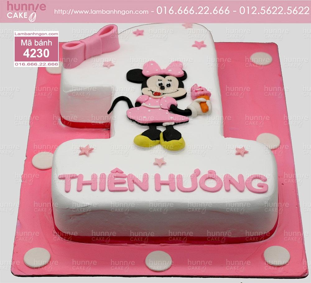 Bánh sinh nhật hình số 1 tạo hình chuột minnie cho bé gái